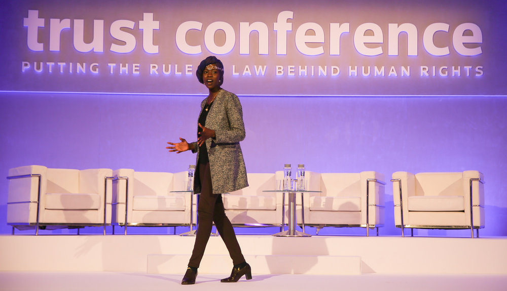 World slam poet champion and human rights activist, Emi Mahmoud, recites a poem at the Trust Conference in London. (Image credit: Thomson Reuters Foundation)