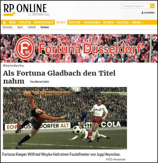 - Rheinische Post (17. Okt 2017) - Als Fortuna Gladbach den Titel nahmLink: http://www.rp-online.de/sport/fussball/fortuna/rheinderby-als-fortuna-duesseldorf-borussia-moenchengladbach-den-titel-nahm-aid-1.7147809