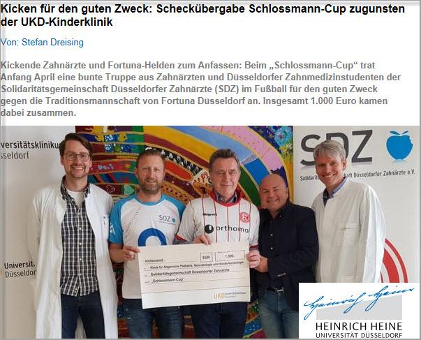 - Universität Düsseldorf (18. Mai 2018) - Kicken für den guten Zweck: Scheckübergabe Schlossmann-Cup zugunsten der UKD-KinderklinikLink: https://www.uni-duesseldorf.de/home/nc/startseite/news-detailansicht-inkl-gb/article/kicken-fuer-den-guten-zweck-scheckuebergabe-schlossmann-cup-zugunsten-der-ukd-kinderklinik.html