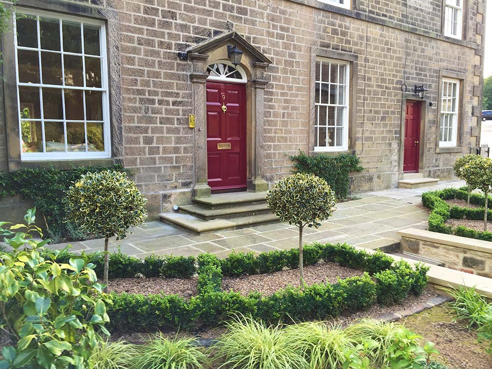 Formal front garden to a Georgian house, Addingham.