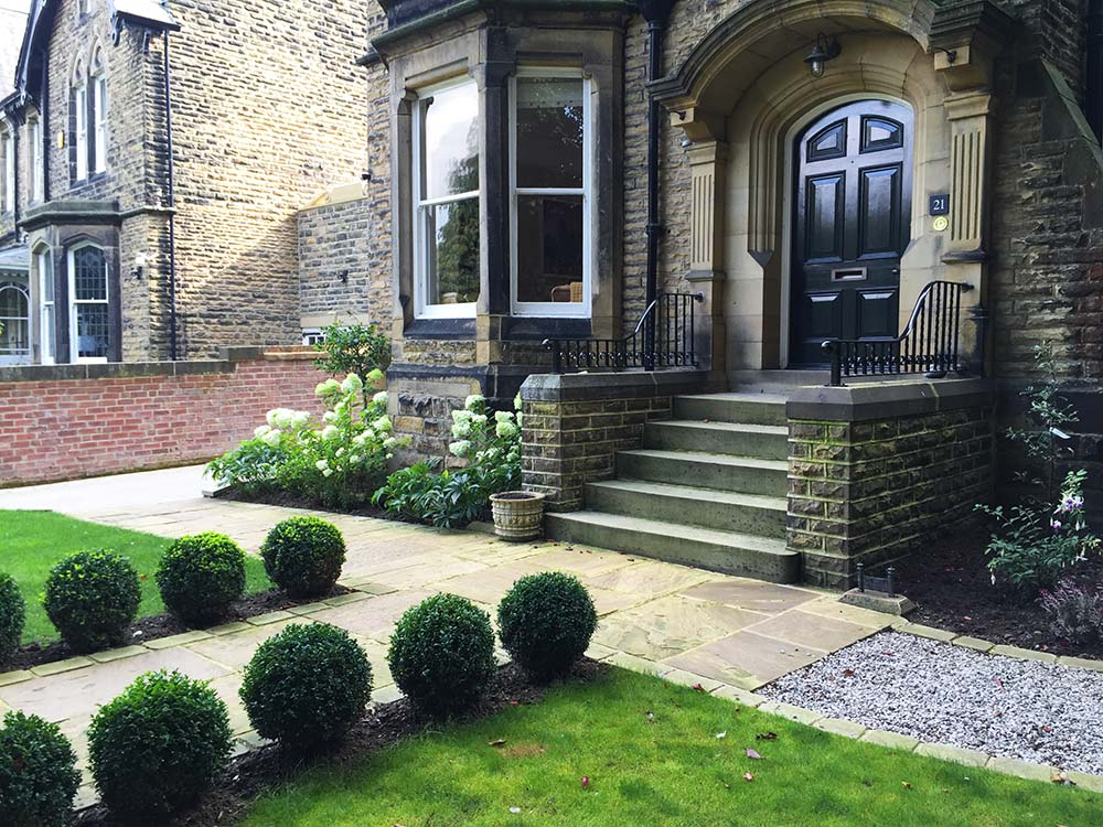 Formal front garden to a large Victorian villa, Ilkley.