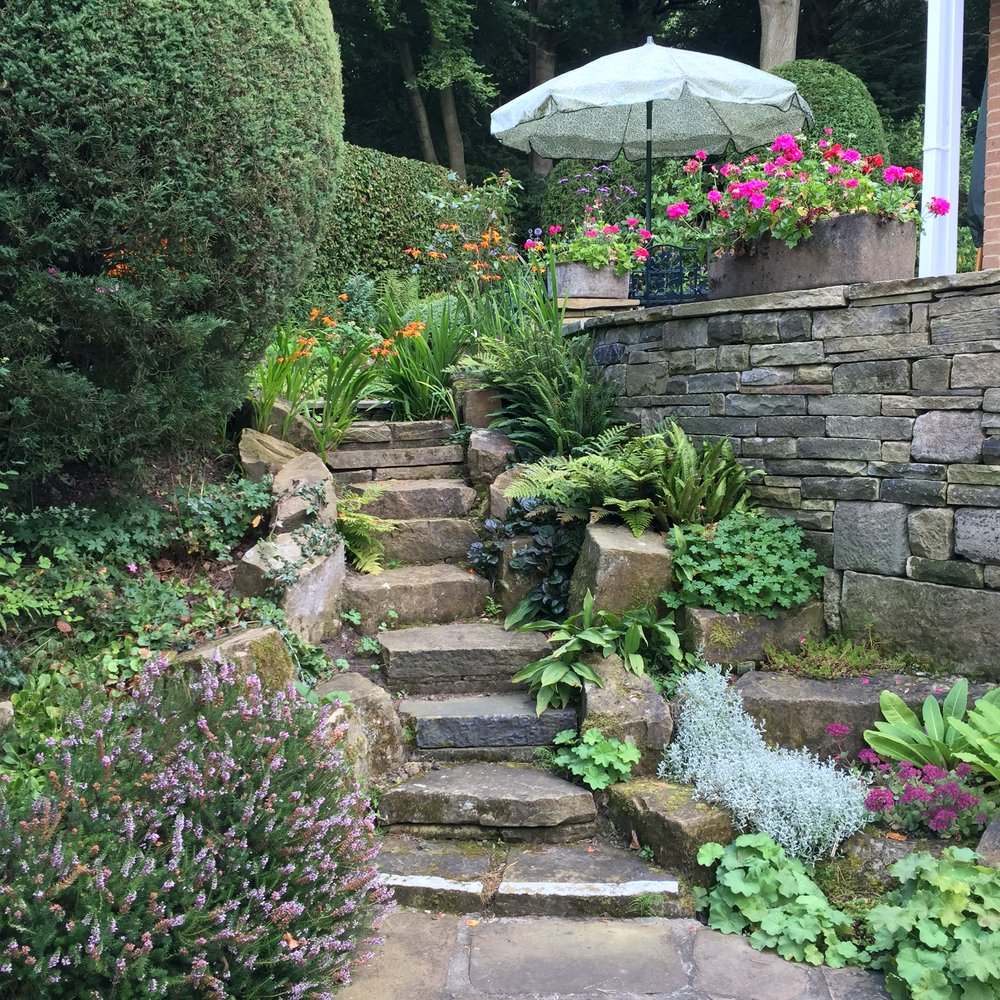 The informal stone steps, softened by plants, connect the lawn to the new seating area