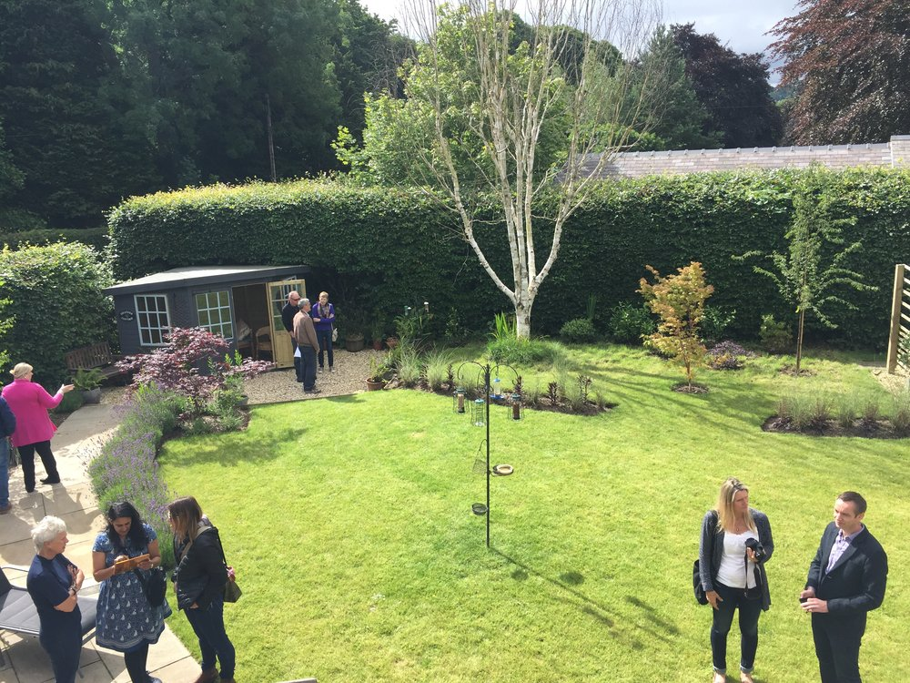 View from the upstairs on the garden, opened for the client's garden visits day, June 2017.