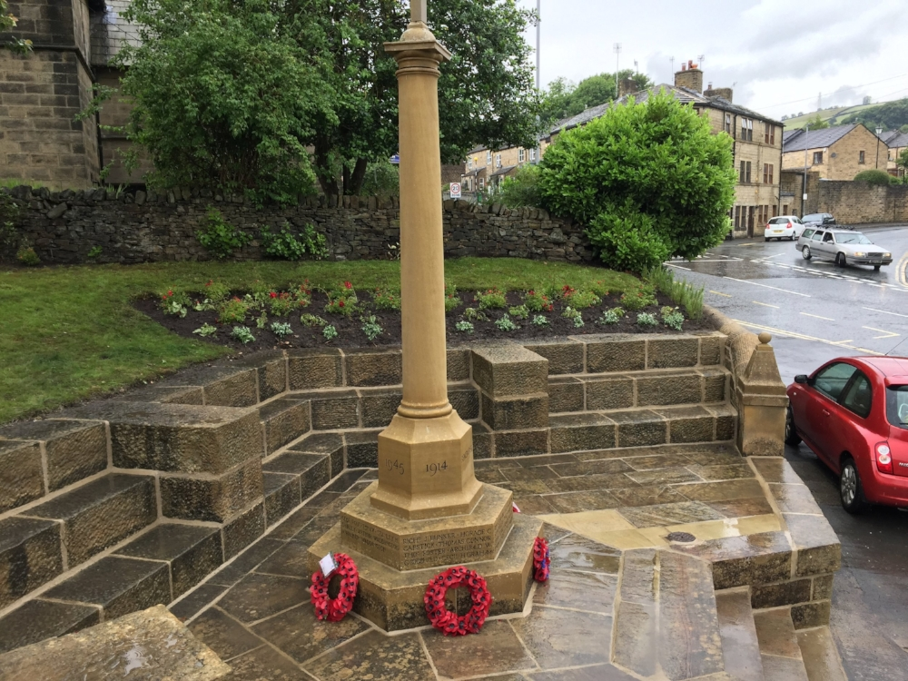 New planting of rosemary (for remembrance), forget me nots and red roses, compliment the stoned cleaned war memorial.