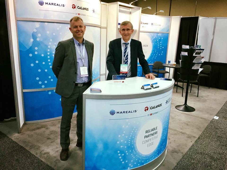 Jaran Rauø (t.v.) fra Marealis og Gunnar Rørstad fra Calanus ved felles stand på SSW. Bidet er hentet fra Biotech North sin  facebookside .