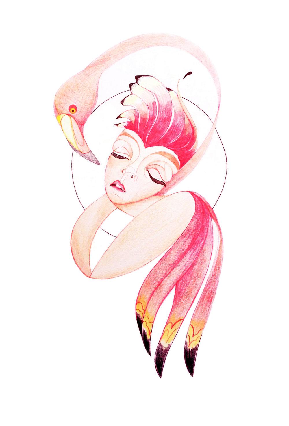 Queen with flamingo