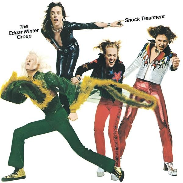 """Shock Treatment"" album cover, 1974 -- from left, Edgar Winter, Ronnie Montrose, Chuck Ruff, Dan Hartman"