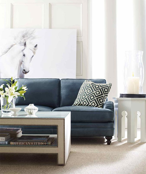 Bernhardt Aleah Blue Leather Sofa Belfort Furniture