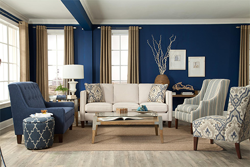 Morgan Sofa with Blue Room at Belfort Furniture