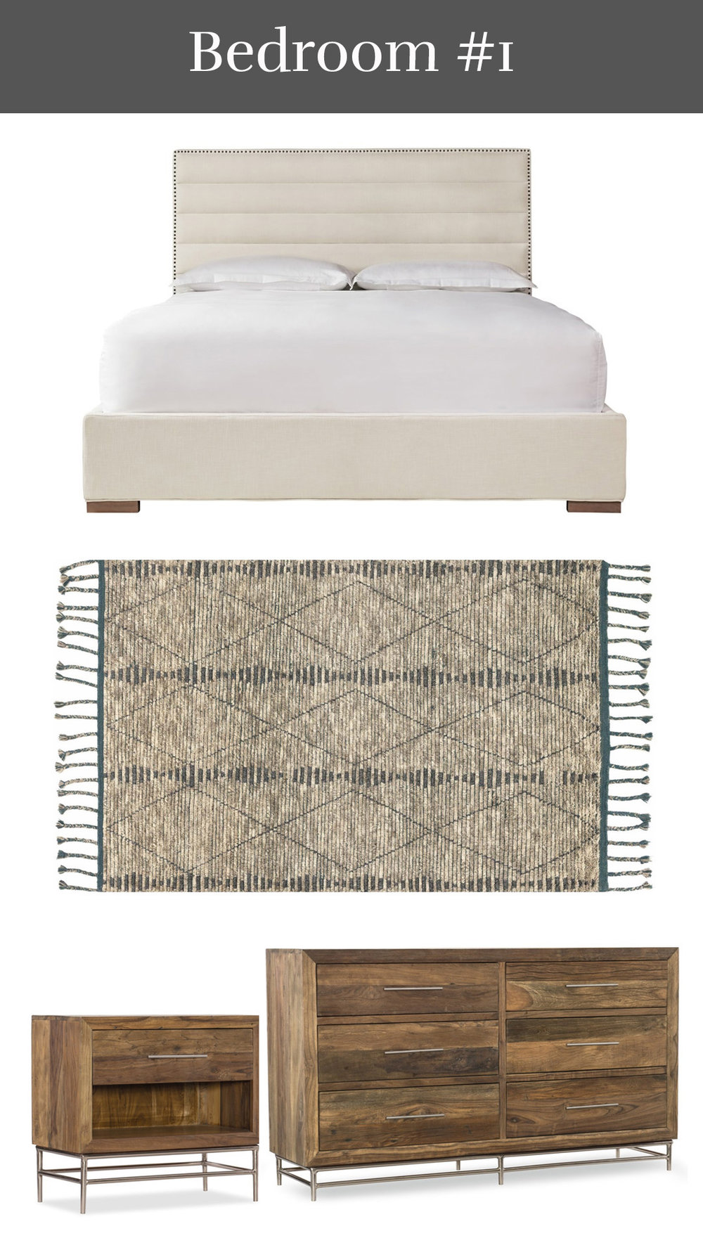 Bohemian Beauty - Synchronicity Upholstered Bed + Tulum Rug + L'Usine Nightstand & Dresser