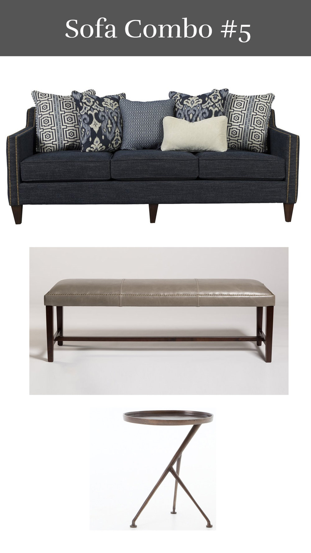 Heidi's Haven - Heidi Sofa + Leather Bench + Schmidt Drink Table