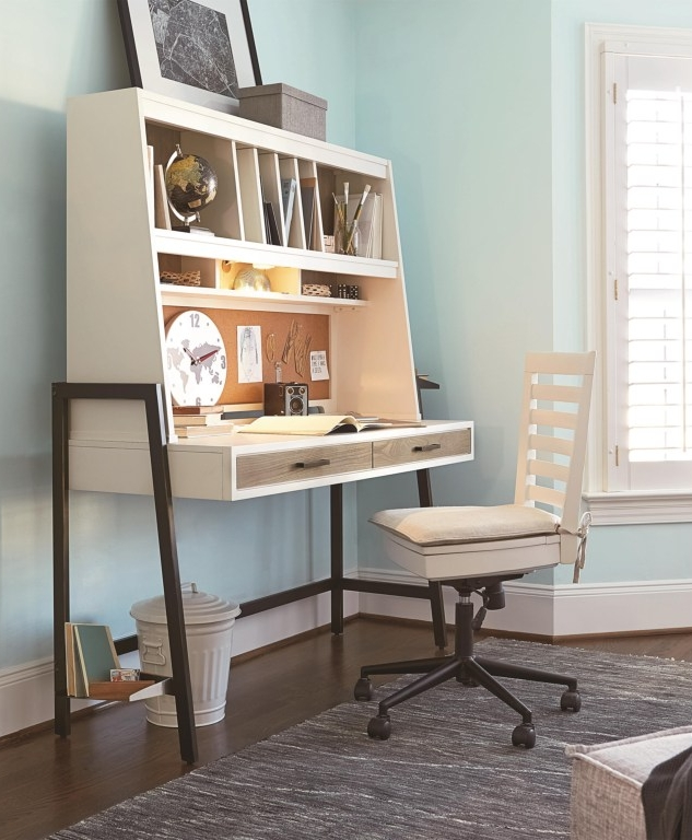 #MyRoom Desk and Hutch - Mixed materials are a trending look that we see staying for a while! This desk features a simple design, mixing a wood finish, a paint, and a metal. A sleek leaning design gives the look that this desk takes up less space than it does.The matching desk chair features an upholstered seat cushion and an adjustable base for ideal comfort.