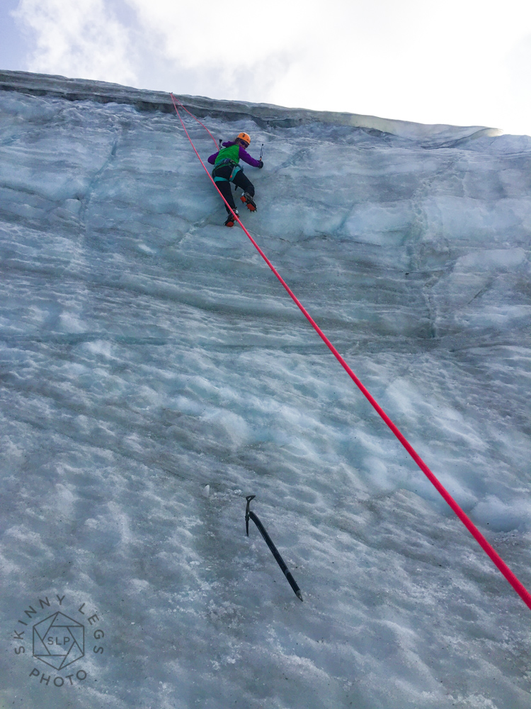 Hannah's first ice climbing expierence.