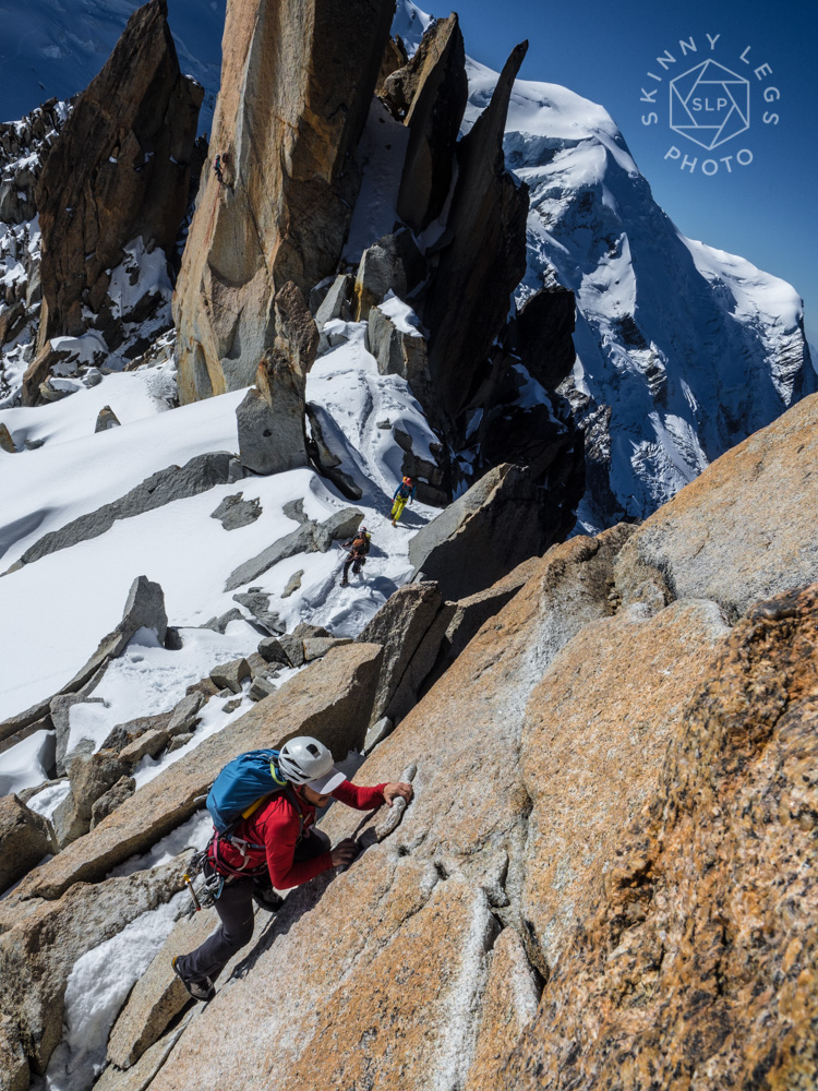 Pete making short work of the crux of Arete des Cosmiques