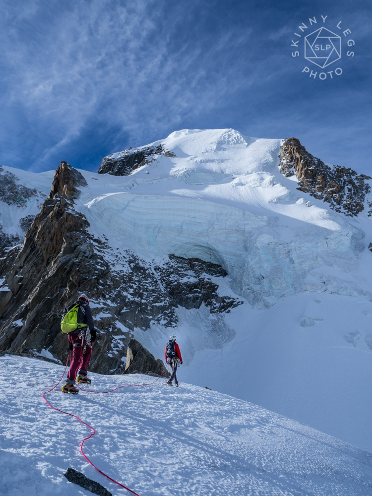 Carlton and Pete on Point Lachenal, the first of our routes today. Massive Seracs spilling from Mont Blanc du Tacul make you feel very small...