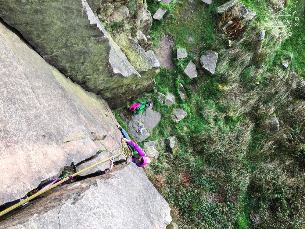 Georgie on her 'favourite' style of climbing at Millstone Edge.