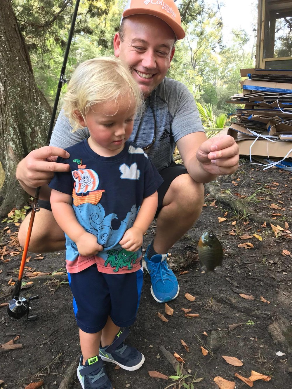 At just 2 years old, Bishop Moore of Freeport hooked this fish from Black Creek on Oct. 14. He got a little assistance from his father, Myron.