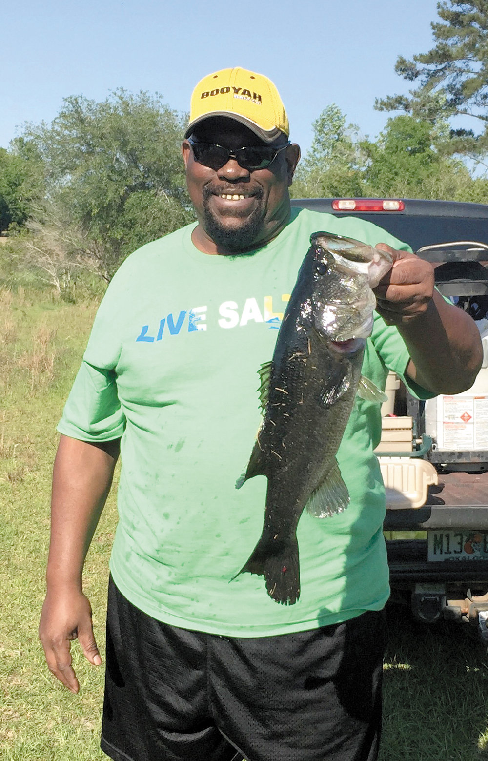 """Crestview's Darryl Williams said he caught this 5-pound, 11-ounce bass on a private lake on May 20. """"(I was) fishing with an 8-inch Zoom plum color plas-tic worm, alongside a timber shoreline. It was an explosive bite for an early morning of fishing,"""" Williams said."""