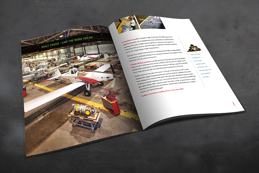 Brochure for Thrush Aircraft. Created in partnership with Grace Dickerson Marketing Consultancy