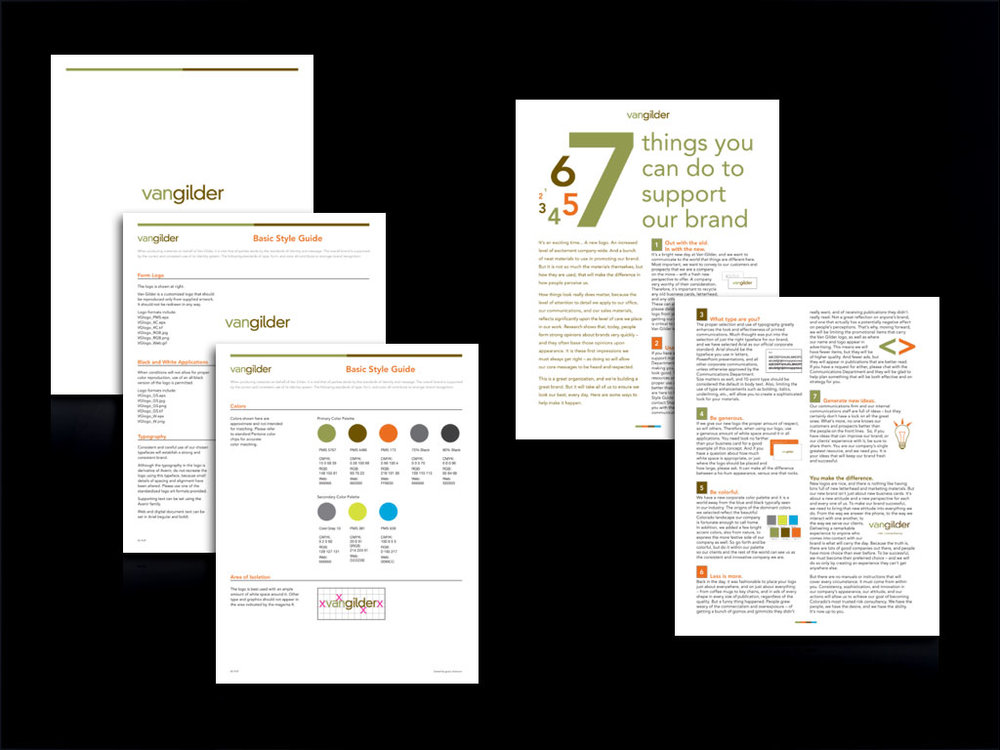 van gilder identity guide and employee brand support sheet (Created in partnership with Grace Dickerson Marketing Consultancy