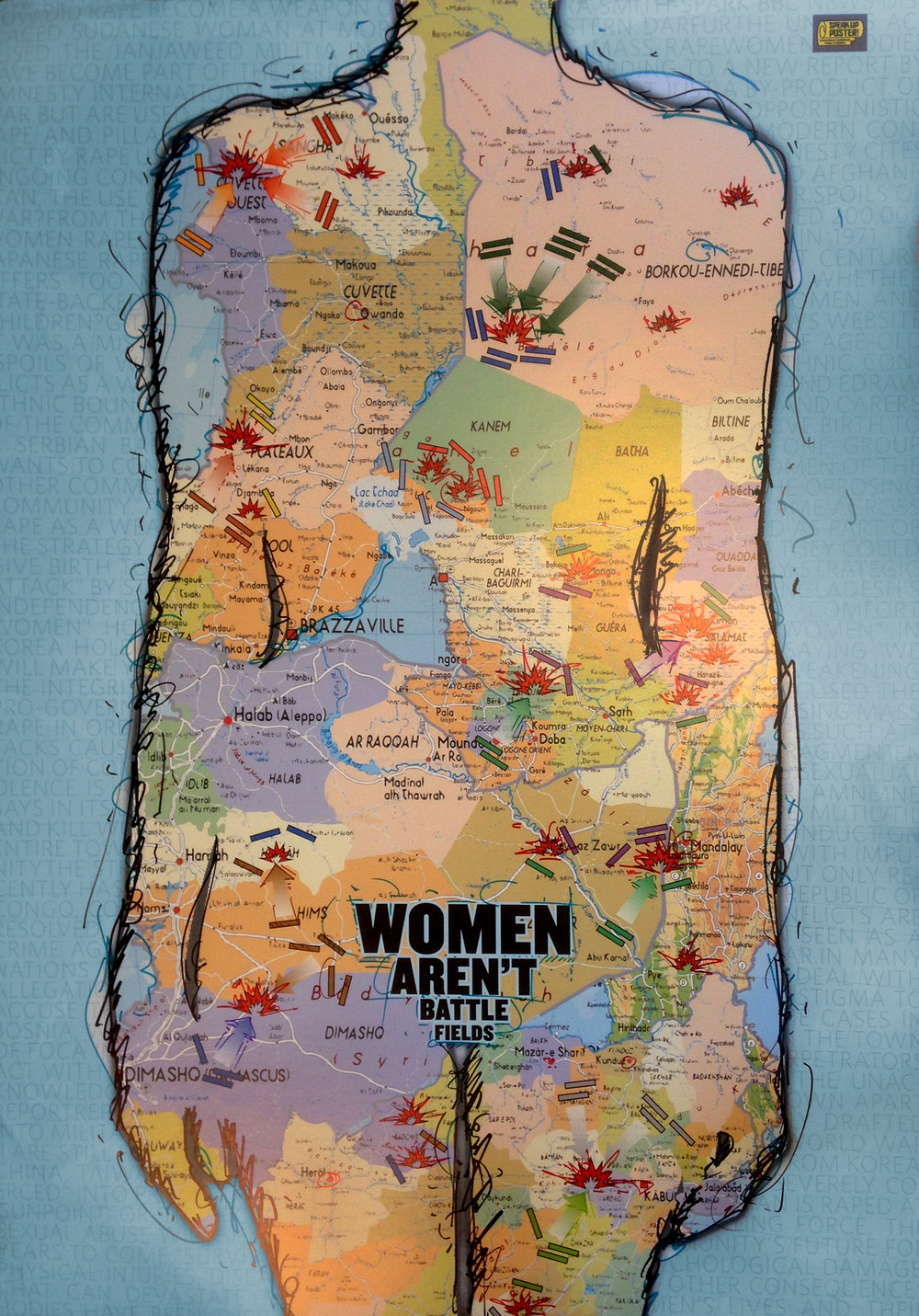 Women aren't battlefields is a poster designed for an invitational exhibition focused on social issues