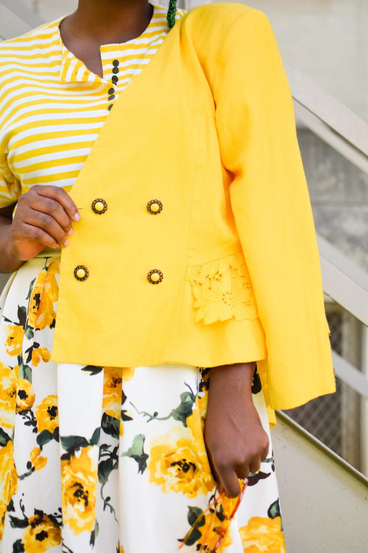 Sunflower Embroidered Linen Blazer.