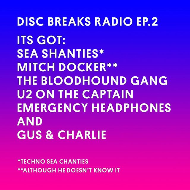 In the second episode of Disc Breaks Radio we discuss professional cyclist Mitch Docker and his emergency set of headphones, remixes of famous TV theme tunes as well as read an excerpt from U2's biography about 'The Captain' sent to us by Tom Southam. We also attempt to defend 'The Bad Touch' by Bloodhound Gang and read some of our lovely listeners letters. Well the only listener letter we received. Check out our weekly playlists which comprises music from the show as well as what we've been listening to over the week. Please subscribe if you're vibing on it. Get it on iTunes, soundcloud, google play, or over at HQ (link in bio).#discbreaksradio #sportsnews #spotify