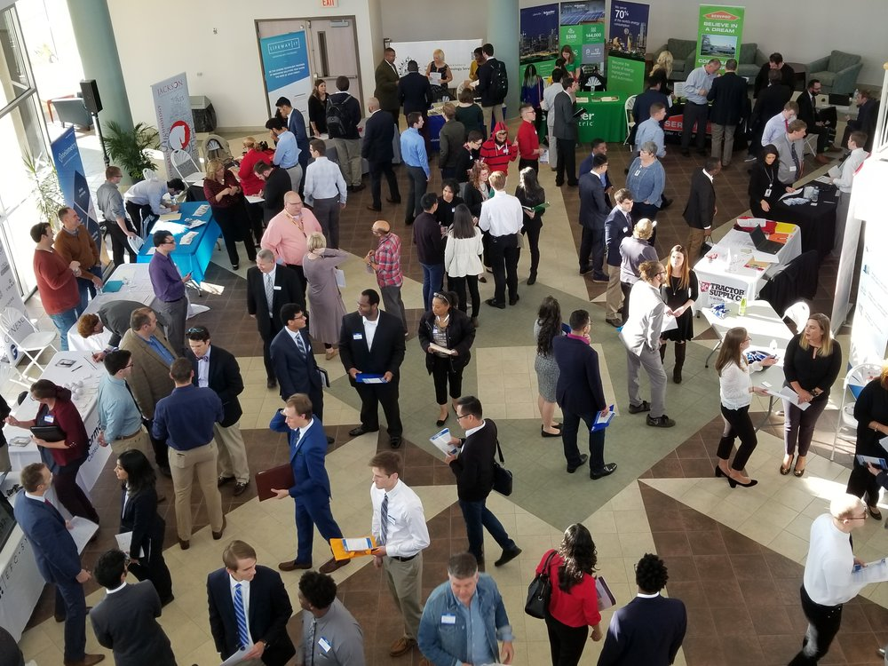 Aerial view of the 2017 IT Connect Career Fair - Hosted by the Computer Information Systems Department at MTSU.