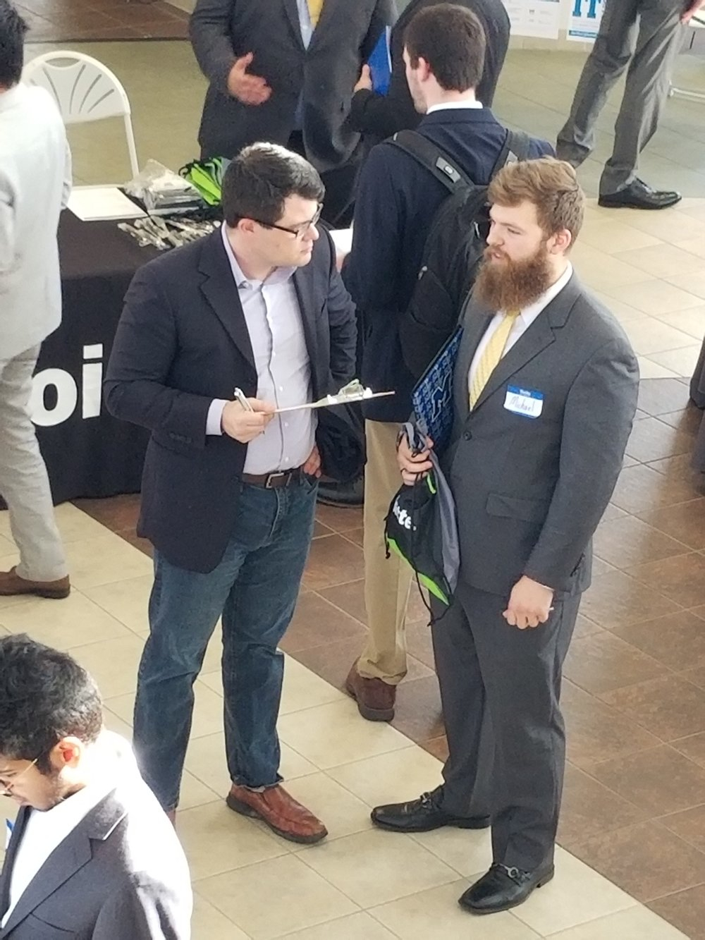Michael Morrissey (MTSU student) talking to Decision Source about possible opportunities.