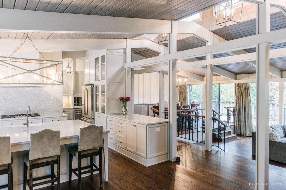 Mid Century Modern Kitchen - kitchen and living room