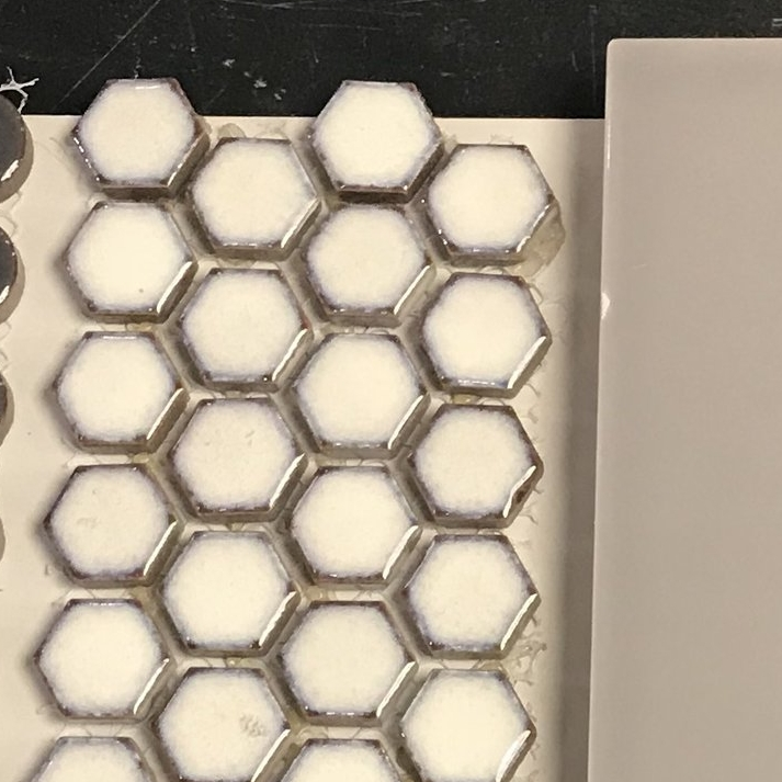 White with Steel Ring Hexagon Mosaic for shower floor