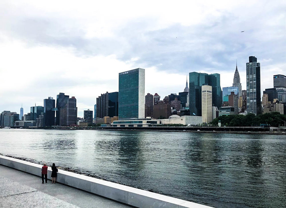 View of the United Nations Building and Manhattan from Roosevelt Island