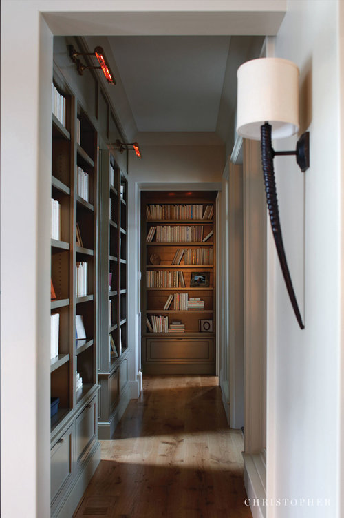 Lake Front Retreat-custom bookshelves + hallway.jpg