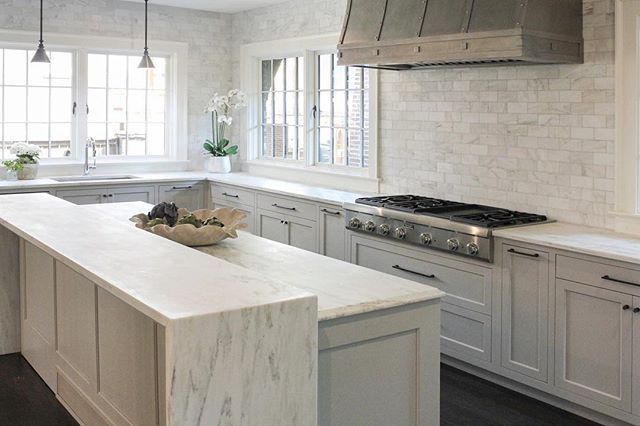 Recently completed kitchen renovation with clean marble details! #achristopherhome