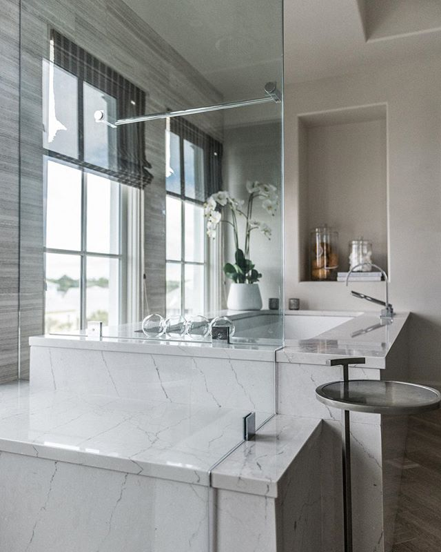 Coastal Luxury bathroom. Get a glimpse of the rest of this home via the link in bio.  #achristopherhome