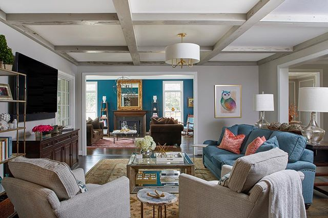 Color, pattern, and texture work in harmony to bring the living spaces together. #achristopherhome
