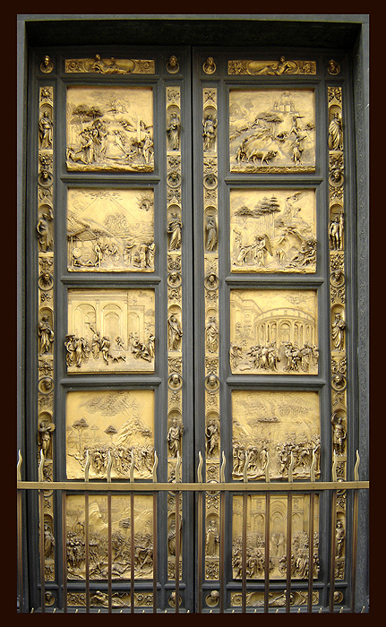 Goldsmith Lorenzo Ghiberti created the bronze doors of the Florence Baptistry. Called by Michelangelo  Gates of Paradise