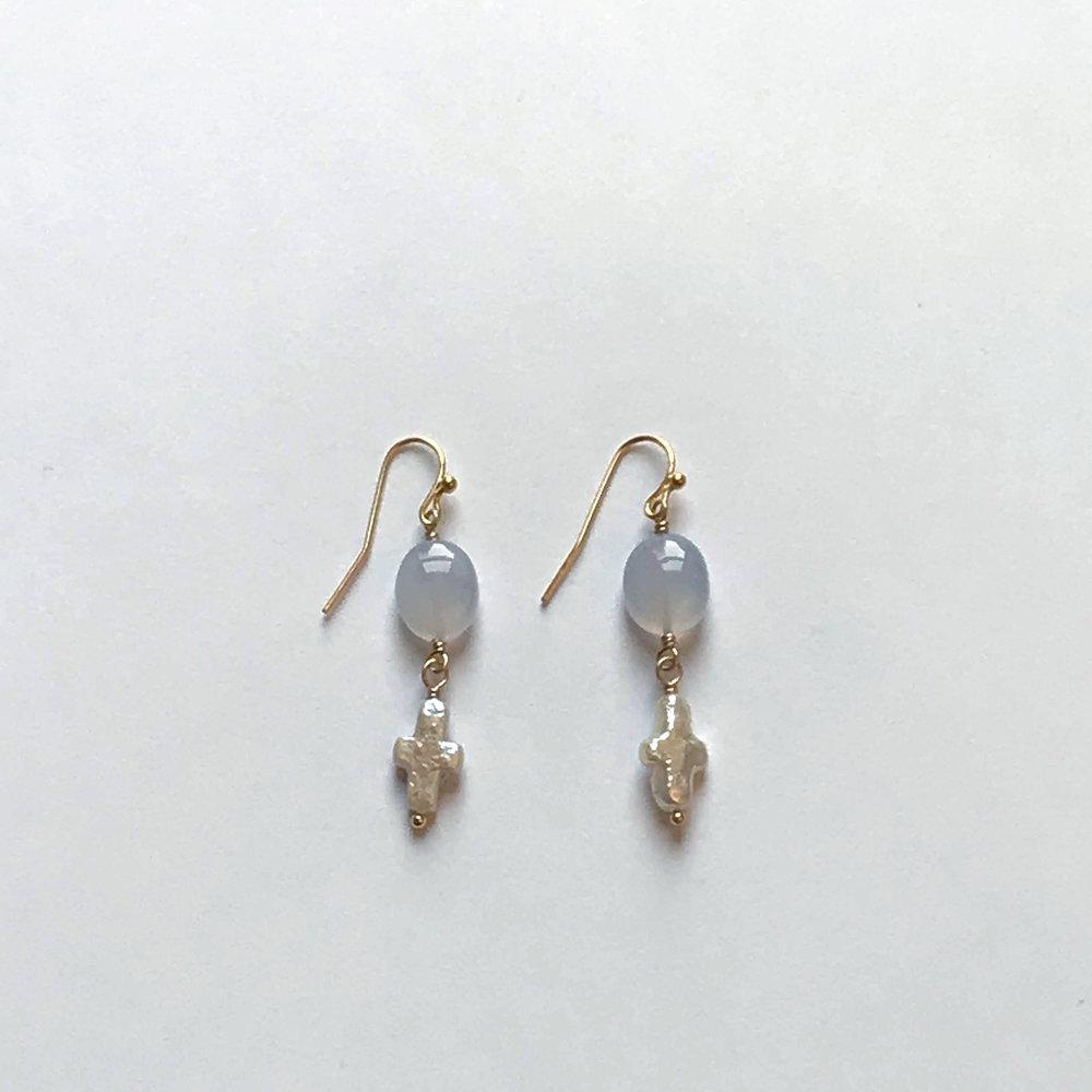 $200 Gold Filled Chalcedony Fresh Water Pearl Cross Earrings