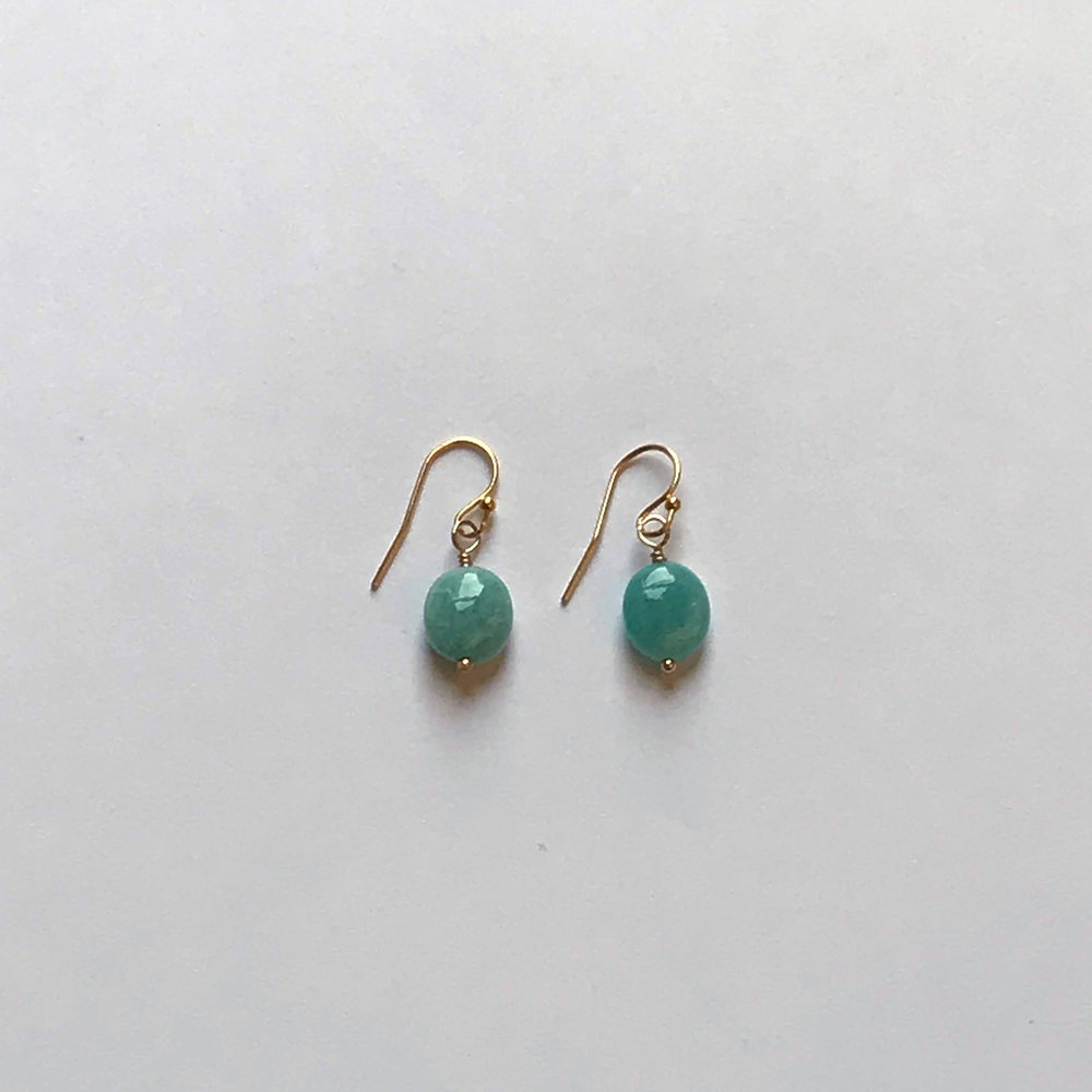 $150 Gold Filled Chalcedony Labradorite Crystal Earrings