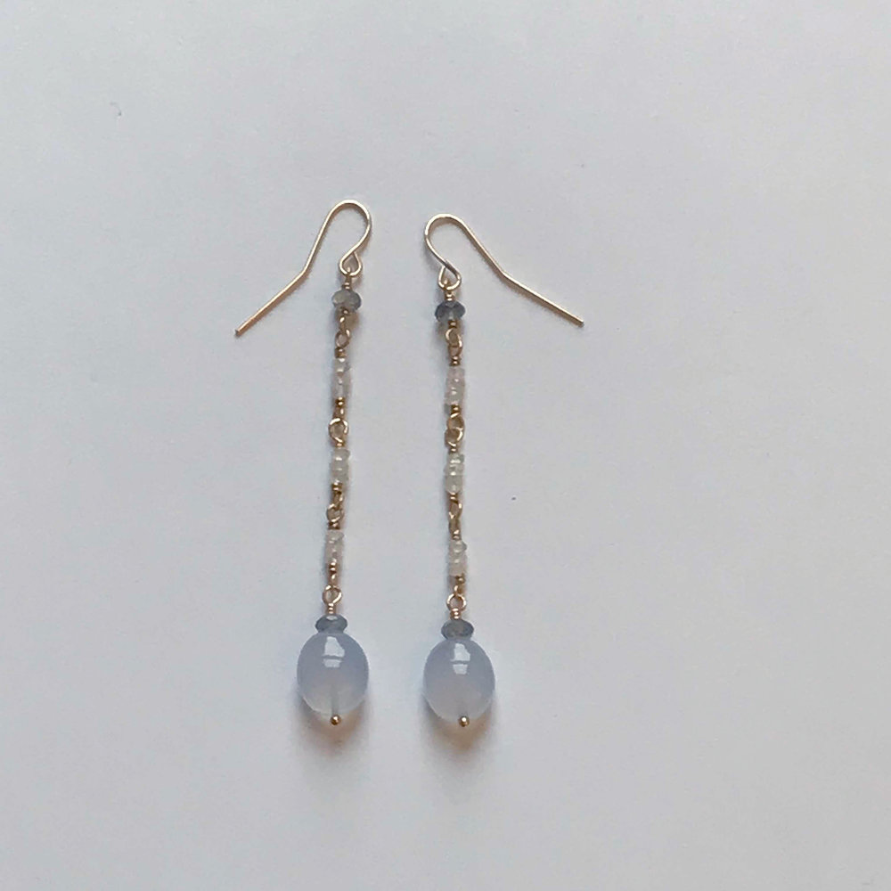 $100 Gold Filled Crystal Chalcedony Labradorite Earrings