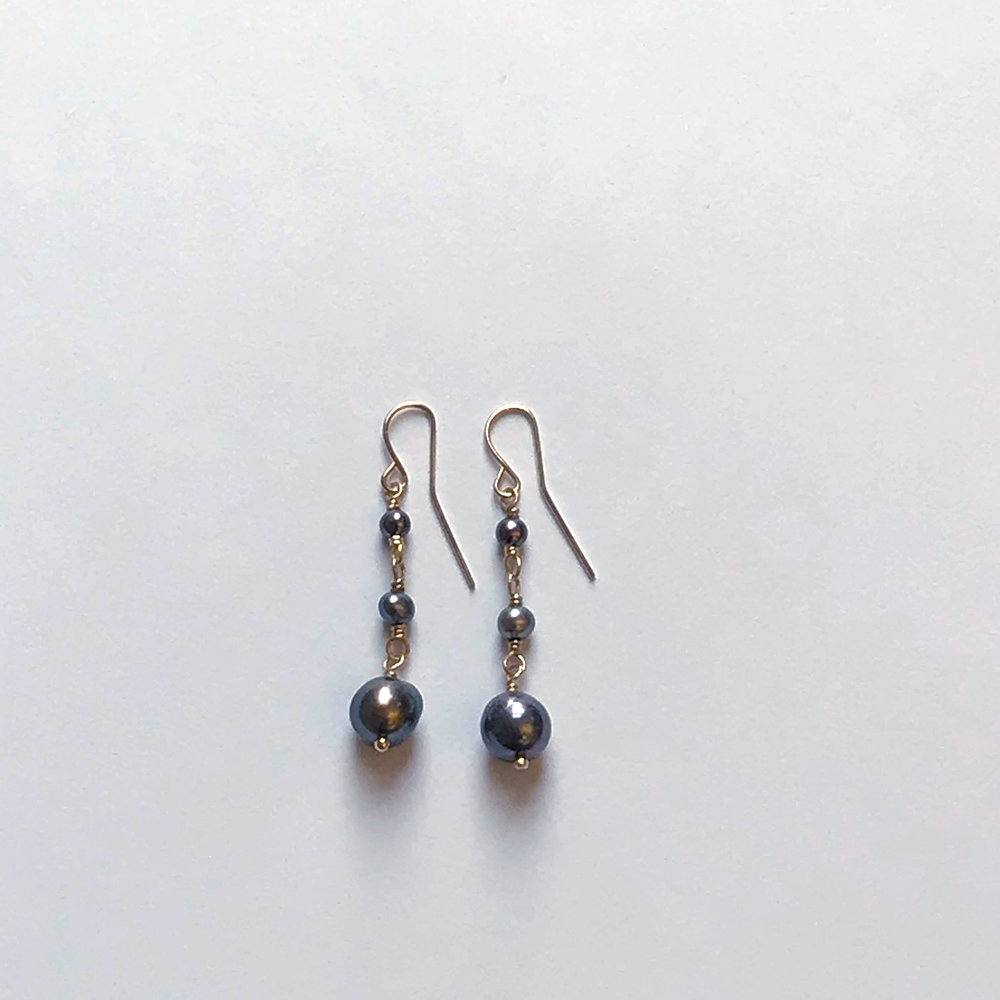 $195 Gold Filled Dyed Akoya Pearl Earrings