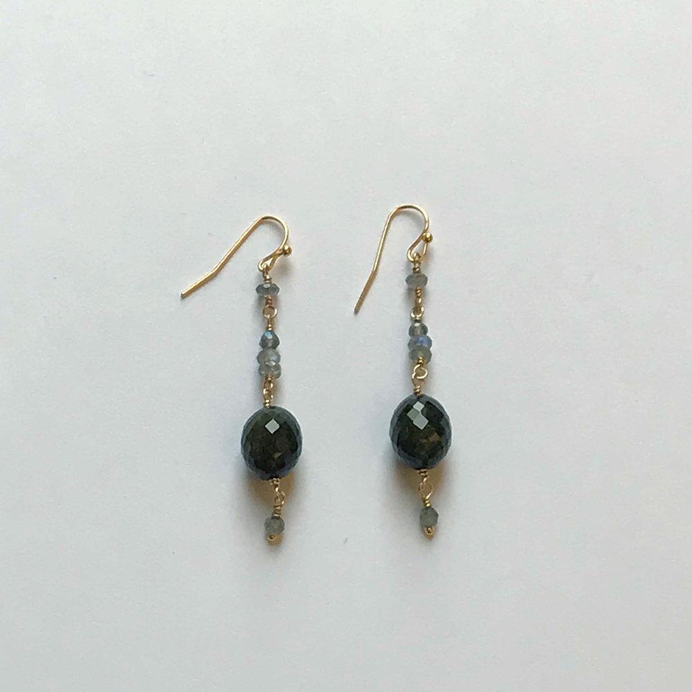 $325 Gold Filled Green Tourmaline Labradorite Earrings