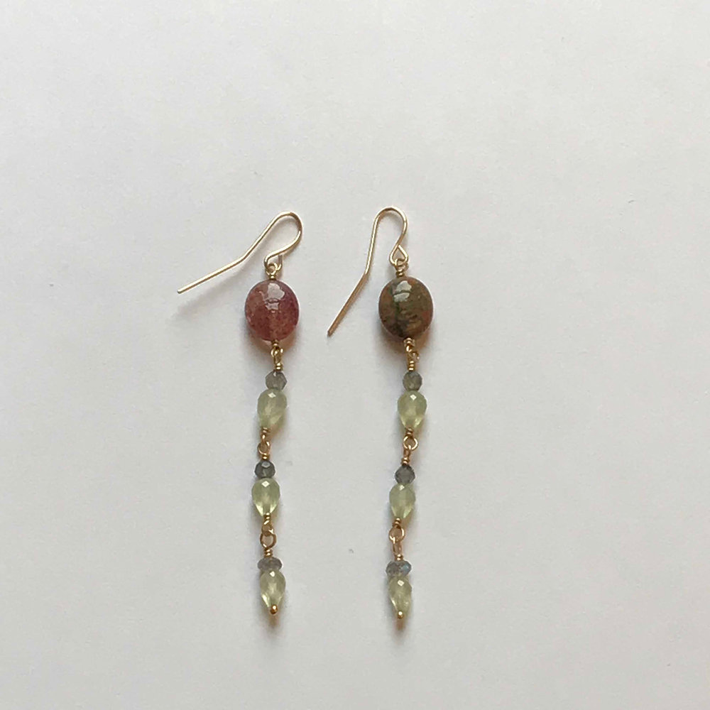 $325 Gold Filled Kyanite Prehnite Labradorite Cherry Quartz Earrings
