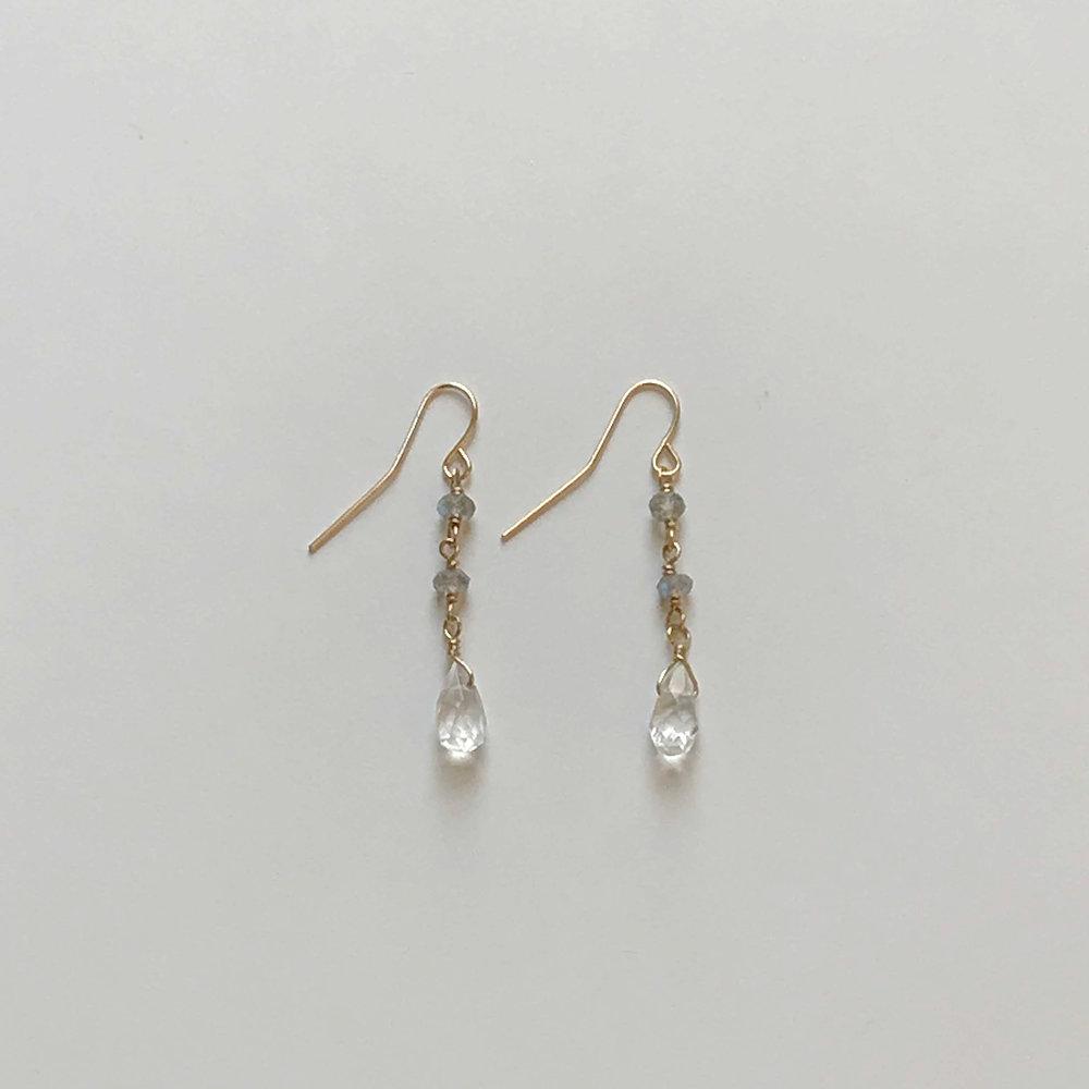 $90 Gold Filled Labradorite Crystal Earrings