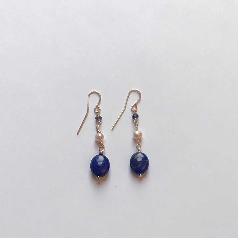 $150 Gold FIlled Lapis Fresh Water Pearl Kyanite Earrings