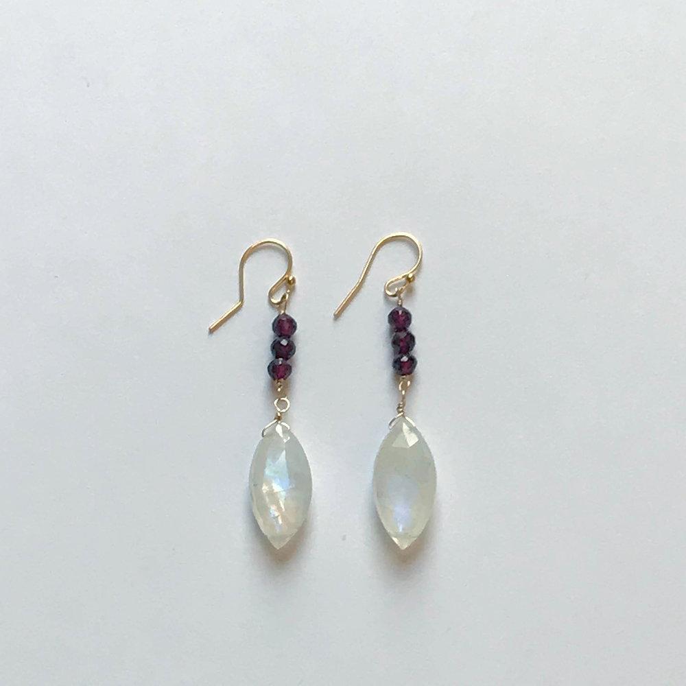 $225 Gold Filled Rainbow Moonstone Garnet Earrings