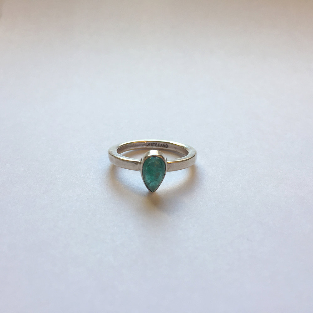 $200 Sterling Silver & Emerald Ring