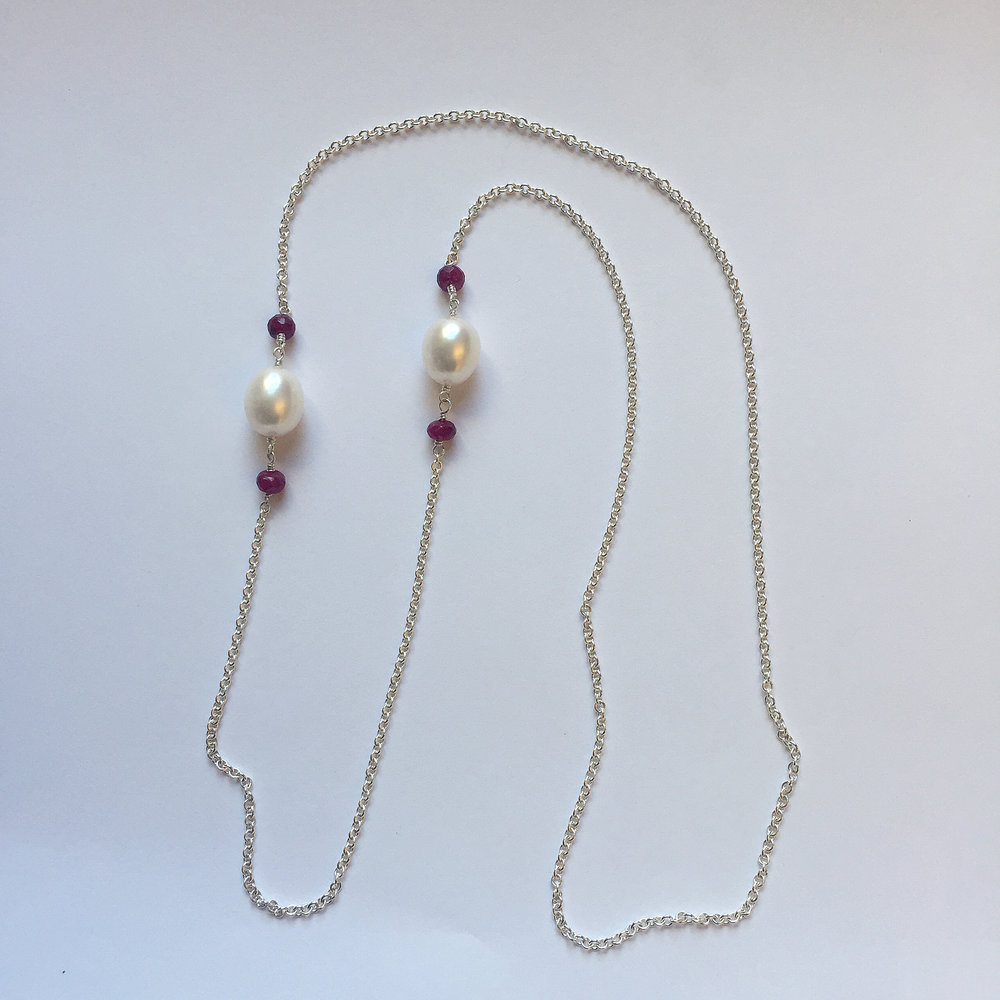 """$450 Sterling Silver Fresh Water Pearl & Dyed Ruby Necklace 28"""" Total"""