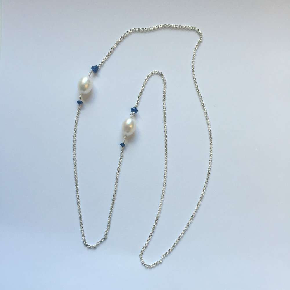 """$450 Sterling Silver Fresh Water Pearl & Sapphire Necklace Total 28"""""""