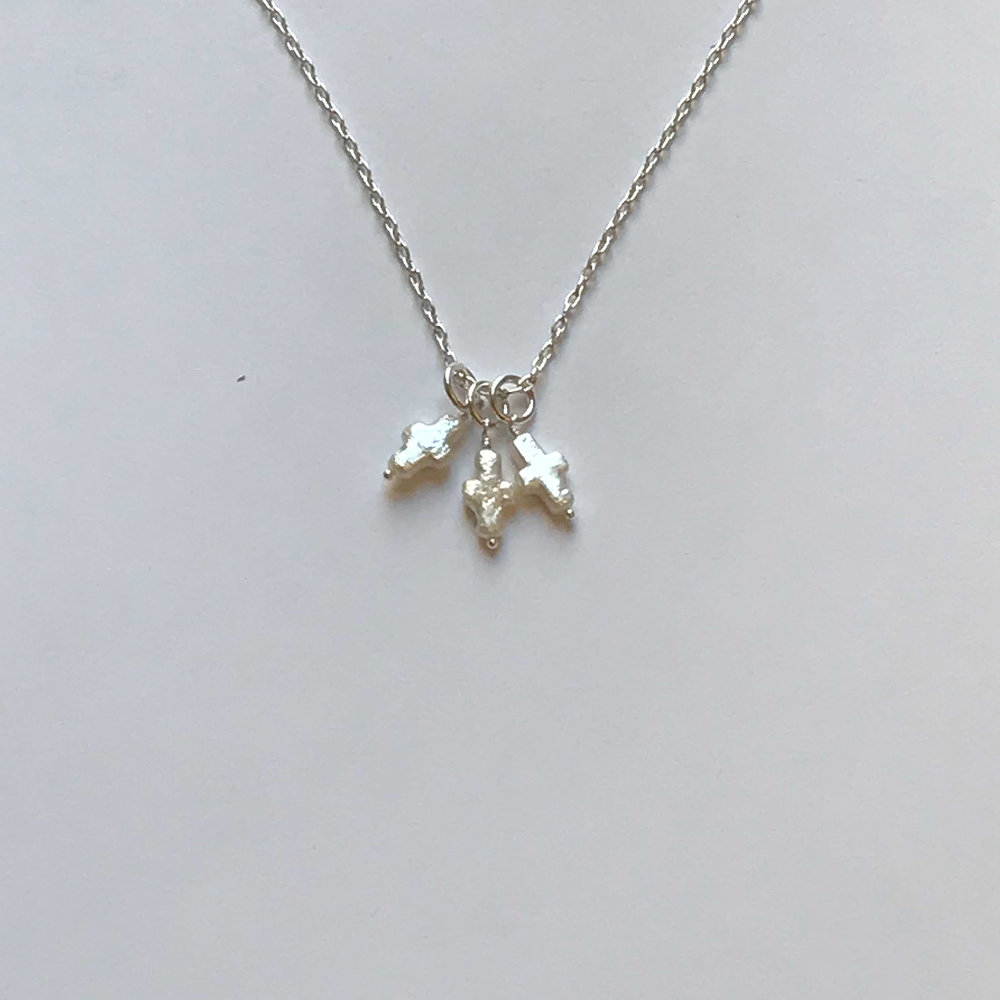 """$225 Sterling Silver Fresh Water Pearl Cross Necklace 26"""" Total"""